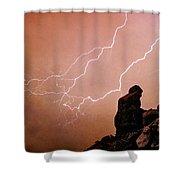 Praying Monk Camelback Mountain Lightning Monsoon Storm Image Tx Shower Curtain
