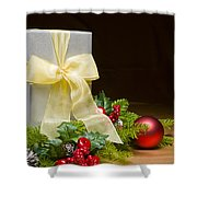 Present Decorated With Christmas Decoration Shower Curtain