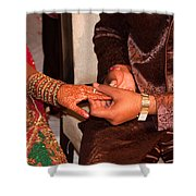 Putting The Gold And Diamond Engagement Ring On The Finger Of The Lady Shower Curtain