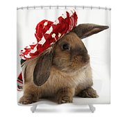 Rabbit Wearing A Hat Shower Curtain