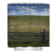 Rail Fence And Field Along The Blue Ridge Parkway Shower Curtain