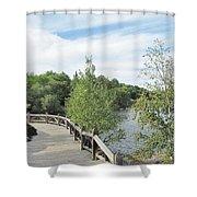 Ramsey Lake Boardwalk Shower Curtain