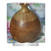 Rare John Regis Tuska Pottery Vase Shower Curtain