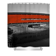 Red Covered Bridge Shower Curtain