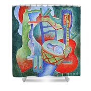 Red Guitar Shower Curtain