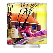 Red House Shower Curtain by Anil Nene