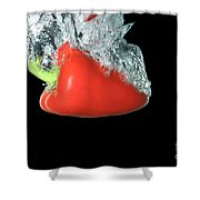 Red Pepper Falling Into Water Shower Curtain