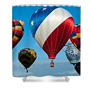 Red White And Balloons Shower Curtain