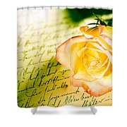 Red Yellow Rose Over A Hand Written Letter Shower Curtain