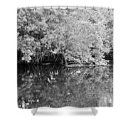 Reflections On The North Fork River In Black And White Shower Curtain