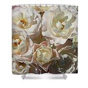 Romantic White Roses Shower Curtain