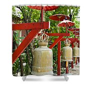 Row Of Bells In A Temple Covered By Red Umbrella Shower Curtain