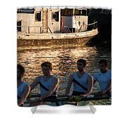 Rowers At Sunset Shower Curtain