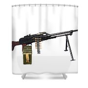 Russian Pkm General-purpose Machine Gun Shower Curtain by Andrew Chittock