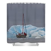 Sail Boat In Laguna San Rafael, Laguna Shower Curtain