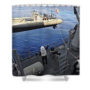 Sailors Lower A Rigid Hull Inflatable Shower Curtain