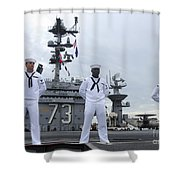 Sailors Man The Rails Aboard Shower Curtain