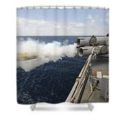 Sailors Observe A Mk-46 Recoverable Shower Curtain