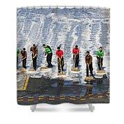 Sailors Perform A Flight Deck Wash Shower Curtain