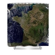 Satellite View Of France Shower Curtain