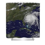 Satellite View Of Hurricane Irene Shower Curtain