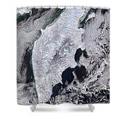 Satellite View Of Kamchatka Peninsula Shower Curtain