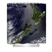 Satellite View Of New Zealand Shower Curtain by Stocktrek Images