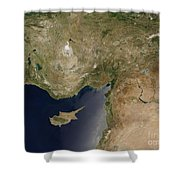 Satellite View Of Turkey And The Island Shower Curtain