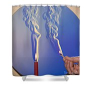 Schlieren Image Of A Candle And Match Shower Curtain