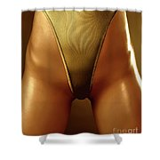 Sexy Covered With Gold Woman In High Cut Swimsuit Shower Curtain