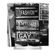 Signs Of New York In Black And White Shower Curtain by Rob Hans