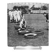 Silent Film Still: Sports Shower Curtain