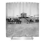 Silent Film Still: Western Shower Curtain