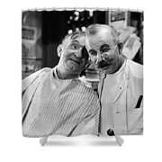 Silent Still: Barber Shop Shower Curtain