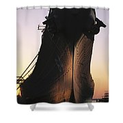 Silhouette Of The Battleship U.s.s Shower Curtain