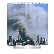 Smoke Billows Over Manhattan Shower Curtain