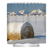 Snow-covered Hay Bales Okotoks Shower Curtain