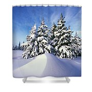Snow-covered Pine Trees Shower Curtain