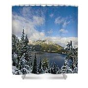 Snow Lake Vista Shower Curtain