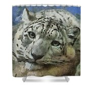 Snow Leopard Painterly Shower Curtain