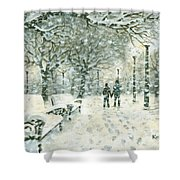 Snowing In The Park Shower Curtain