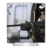 Soldier Mans A .50 Caliber Machine Gun Shower Curtain