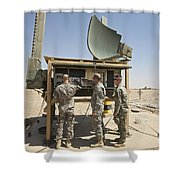 Soldiers Checking A Radar System Shower Curtain