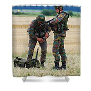 Soldiers Of The Belgian Army Shower Curtain