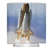 Space Shuttle Atlantis Lifts Shower Curtain