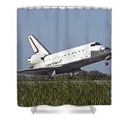 Space Shuttle Atlantis Touches Shower Curtain