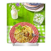 Spaghetti Al Pesto Shower Curtain