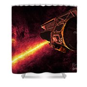 Spitzer Seen Against The Infrared Sky Shower Curtain