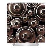 Stack Of Batteries Shower Curtain by Carlos Caetano