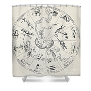 Star Map From Kirchers Oedipus Shower Curtain